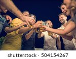 people relaxation drinking rest ... | Shutterstock . vector #504154267