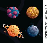 cartoon planets set on space...