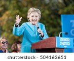 Small photo of Hillary Clinton speaks at St. Anselm College in Manchester, N.H., on October 24, 2016.