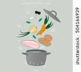 recipe for chicken soup.... | Shutterstock .eps vector #504166939
