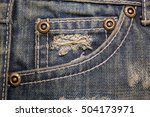 old dirty blue jeans with holes ... | Shutterstock . vector #504173971