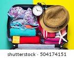 travel preparations on wooden...   Shutterstock . vector #504174151