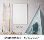 mock up poster frame in hipster ... | Shutterstock . vector #504179614