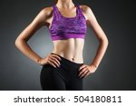 fit anonymous girl akimbo. | Shutterstock . vector #504180811