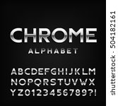 chrome alphabet font. metal... | Shutterstock .eps vector #504182161