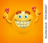 happy toothy yellow round face... | Shutterstock .eps vector #504186067
