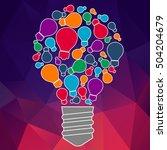 square banner with light bulb... | Shutterstock .eps vector #504204679