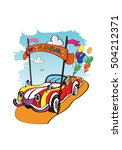 car with balloons on the road ... | Shutterstock .eps vector #504212371