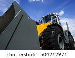 bulldozer  huge yellow powerful ...   Shutterstock . vector #504212971
