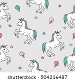 seamless pattern with unicorns... | Shutterstock .eps vector #504216487