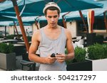 young hipster man using... | Shutterstock . vector #504217297