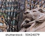 Lion Statue In New York Public...