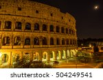 colosseum in rome at night ... | Shutterstock . vector #504249541