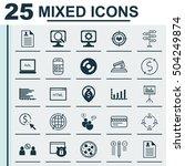 set of 25 universal editable... | Shutterstock .eps vector #504249874