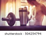 whey protein shaker and... | Shutterstock . vector #504254794