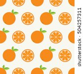 orange fruit set with leaf in a ... | Shutterstock .eps vector #504257311
