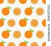 orange fruit set with leaf in a ... | Shutterstock .eps vector #504257311