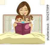 young mother reading tale story ...   Shutterstock .eps vector #504257599