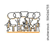 team sign and stick people.... | Shutterstock .eps vector #504266755