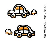 doodle simple cars. hand drawn... | Shutterstock .eps vector #504270301