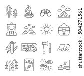 camping icon set in linear... | Shutterstock .eps vector #504271561