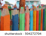colorful pencil shaped fence... | Shutterstock . vector #504272704