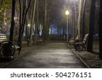 city alley at night with... | Shutterstock . vector #504276151