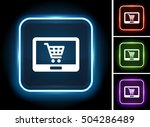 tablet shopping on glow square... | Shutterstock .eps vector #504286489