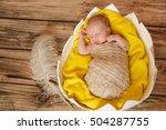 sleeping newborn baby in egg   Shutterstock . vector #504287755