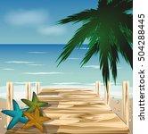 Stock vector wood bridge on the beach with shells vector 504288445