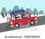 family winter traveling.... | Shutterstock .eps vector #504288691