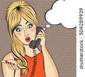pop art  woman chatting on... | Shutterstock .eps vector #504289939