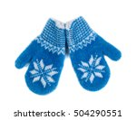 pair of red woolen gloves ... | Shutterstock . vector #504290551