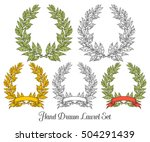 laurel set with red ribbon bay... | Shutterstock .eps vector #504291439