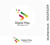 colorful media play logo design ... | Shutterstock .eps vector #504293359