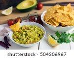 guacamole in white bowl on... | Shutterstock . vector #504306967