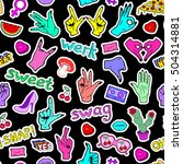 seamless pattern with fashion... | Shutterstock .eps vector #504314881