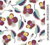 hibiscus flowers pattern.... | Shutterstock .eps vector #504320845
