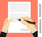 hands holding sheet of paper... | Shutterstock .eps vector #504324109