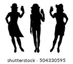 girl black silhouettes taking... | Shutterstock .eps vector #504330595