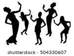 girl black silhouettes taking... | Shutterstock .eps vector #504330607