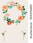 watercolor wreath of flowers | Shutterstock . vector #504333685