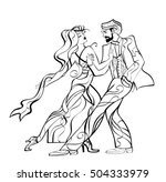 silhouette of dancing couple | Shutterstock .eps vector #504333979