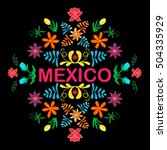 mexico flowers  pattern and... | Shutterstock .eps vector #504335929