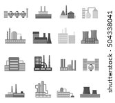factory set icons in monochrome ... | Shutterstock .eps vector #504338041