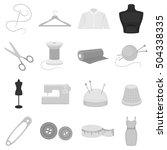 atelie set icons in monochrome... | Shutterstock .eps vector #504338335