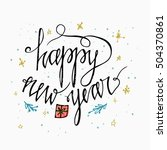 happy new year card. hand... | Shutterstock .eps vector #504370861