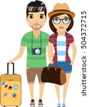 young family travels around the ... | Shutterstock .eps vector #504372715