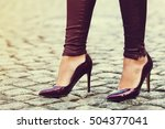 Woman Wearing Classic High Heel ...