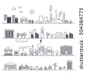set of city flat icons in line... | Shutterstock .eps vector #504384775